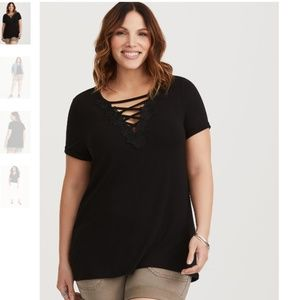 TORRID Black Lattice Fitted Tee